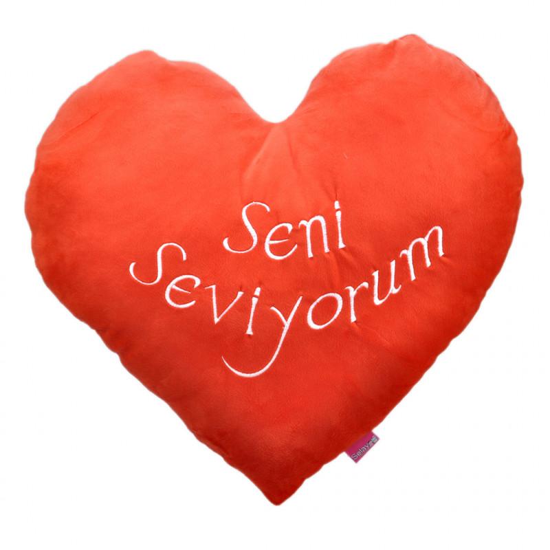 Kalpli Seni Seviyorum Yastık 55 cm