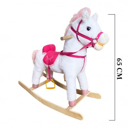 Müzikli Sallanan At Beyaz - Pembe 65 cm