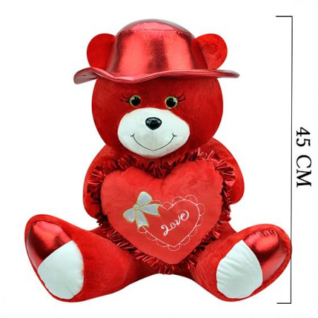 Şapkalı Ayı 45 cm Kırmızı