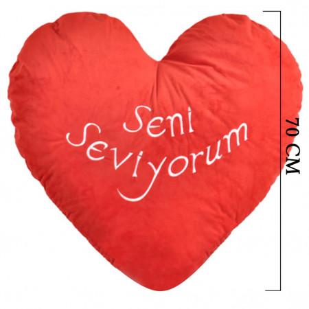 Kalpli Seni Seviyorum Kalp Yastık 70 cm 1156