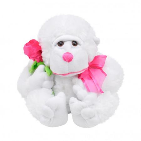 Peluş Çiçekli Goril 28 cm Beyaz 3417