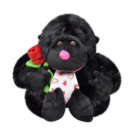Peluş Çiçekli Goril 28 cm Siyah 3417