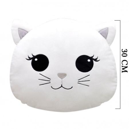 Kedi Figürlü Yastık 30 cm Beyaz 2025