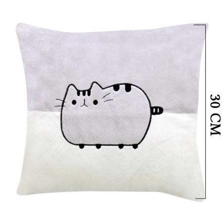 Şirin Kedi Figürlü Yastık 30 cm Gri 2026
