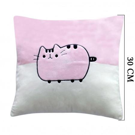 Şirin Kedi Figürlü Yastık 30 cm Pembe